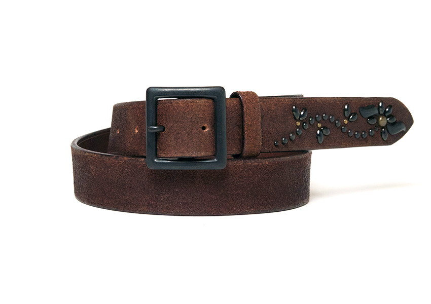 ROUGHOUT FLORAL STUDS LONG BELT